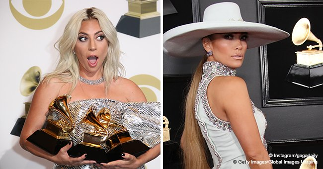 Lady Gaga and J. Lo wear the same heels at Grammy Awards and almost kiss each other on camera