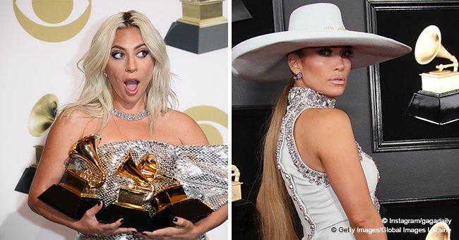 Lady Gaga und J. Lo tragen bei den Grammy Awards die gleichen Schuhe und küssen sich fast