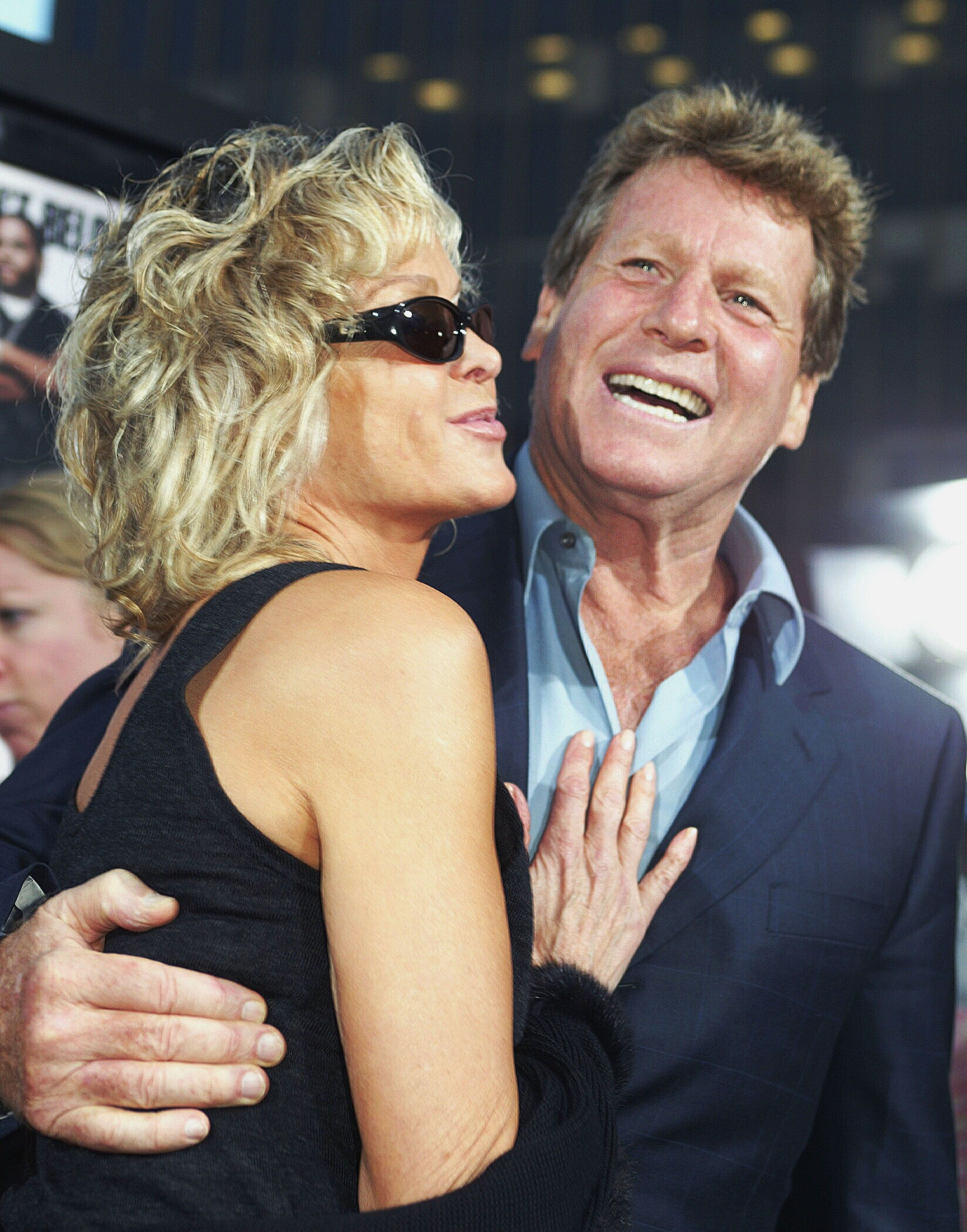 "Farrah Fawcett and Ryan O'Neal at the after-party for ""Malibu's Most Wanted"" in 2003