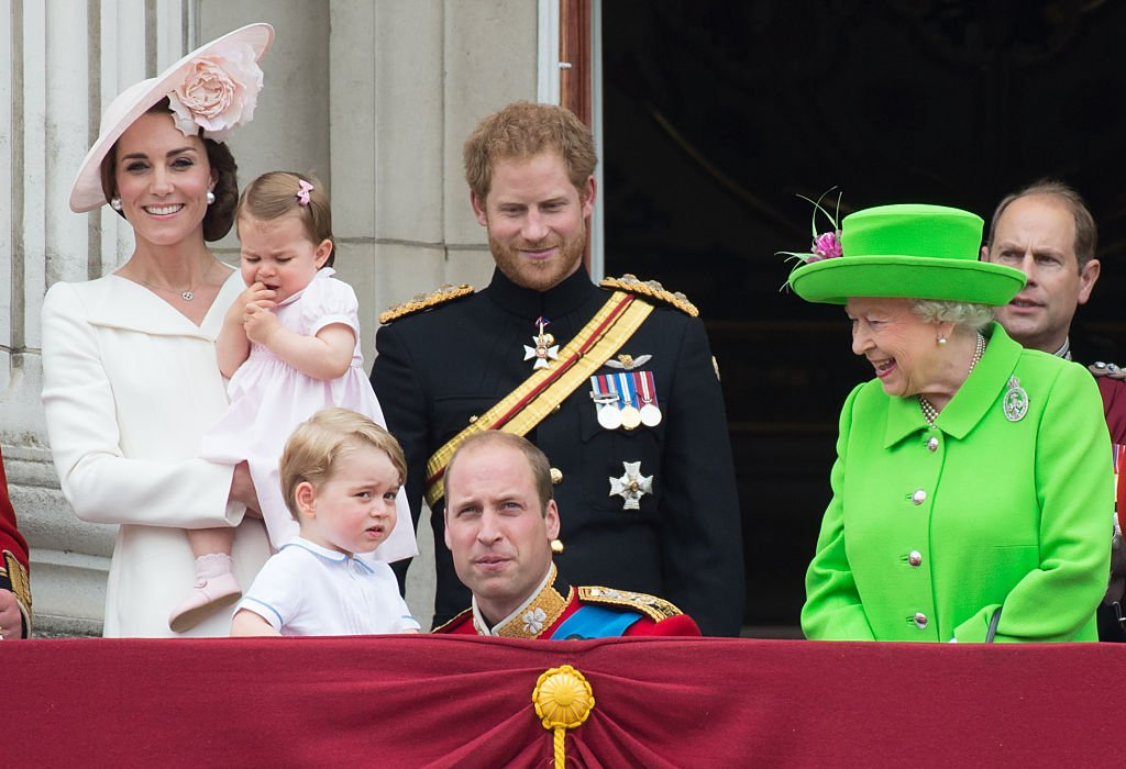 Kate Middleton, Prince William, kids Princess Charlotte and Prince George, and Prince Harry with Queen Elizabeth at Trooping the Color in London, England on June 11, 2016 | Photo: Getty Images