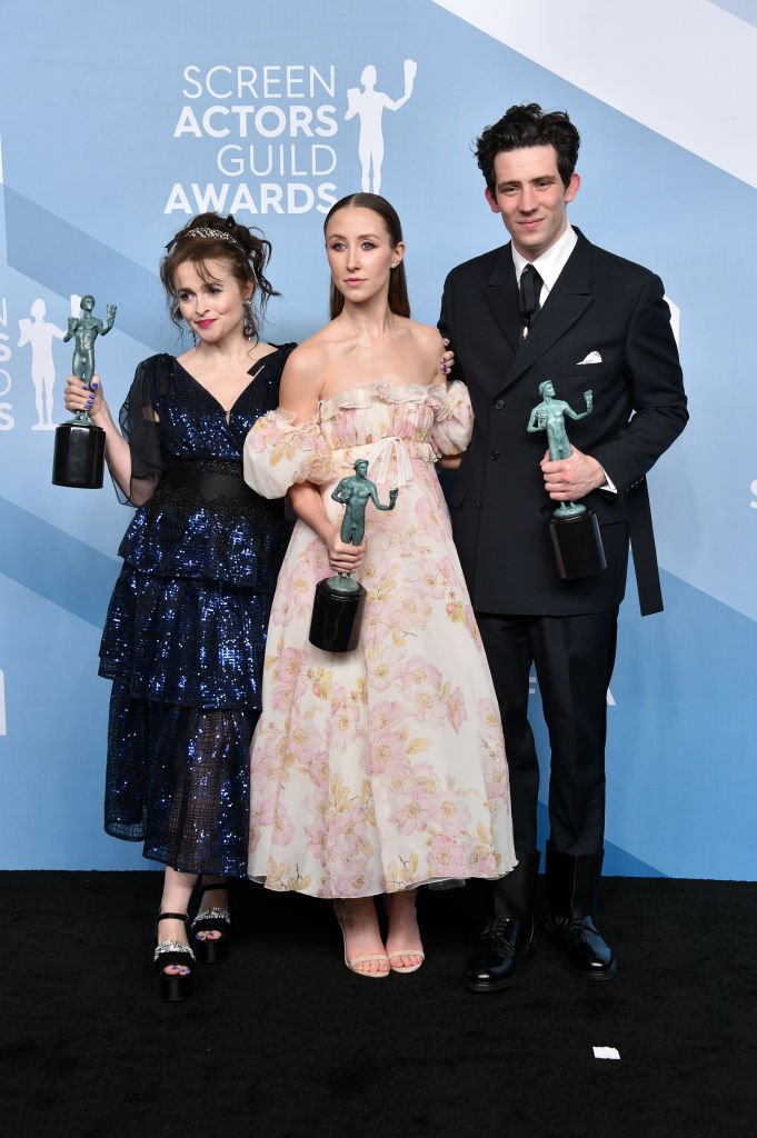 Helena Bonham Carter, Erin Doherty, and Josh O'Connor pictured at the 26th Annual Screen ActorsGuild Awards, 2020, California. | Photo: Getty Images