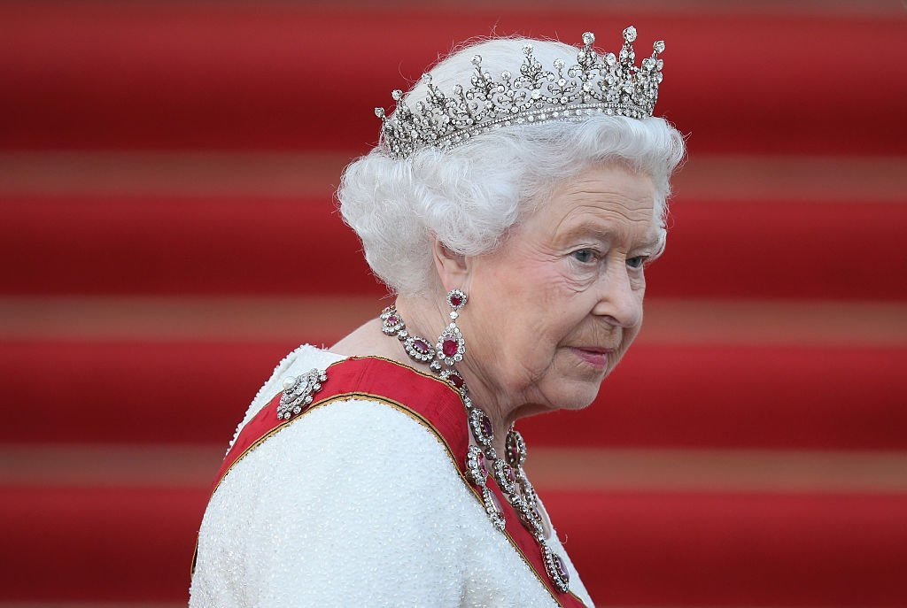 Queen Elizabeth II arrives for the state banquet in her honour at Schloss Bellevue palace on the second of the royal couple's four-day visit to Germany   Photo: Getty Images