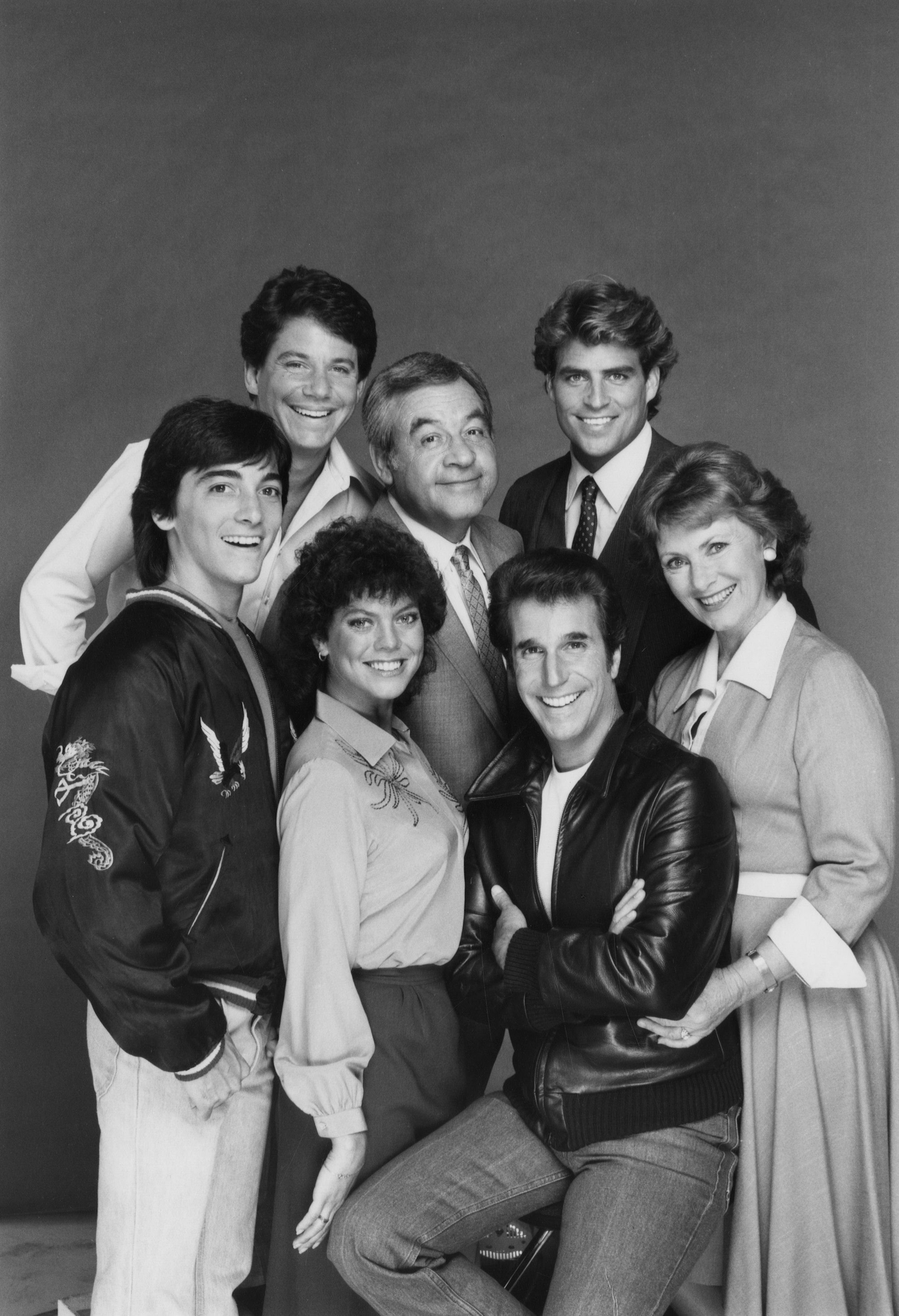 "Scott Baio, Anson Williams, Erin Moran, Tom Bosley, Ted McGinley, Henry Winkler, and Marion Ross of ""Happy Days,"" August 9, 1983. 