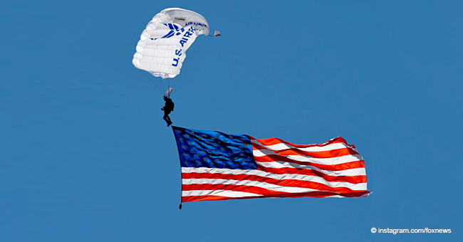 Epic Moment Parachuter Unfolded Huge American Flag in the Sky during National Anthem Performance