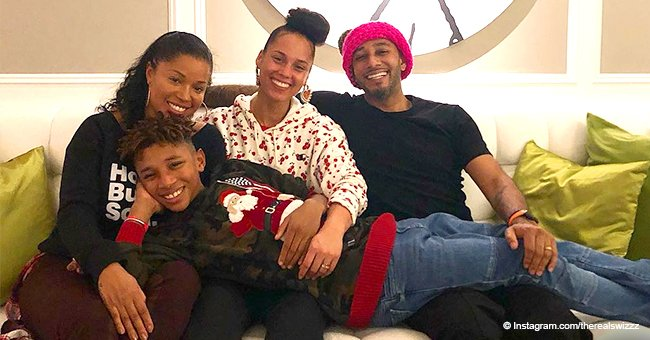 Swizz Beatz praised for photo with ex-wife, their child and wife Alicia Keys on son's birthday