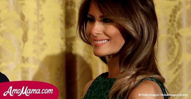 Melania Trump dazzles and looks sensational in $1,595 green leopard cocktail dress