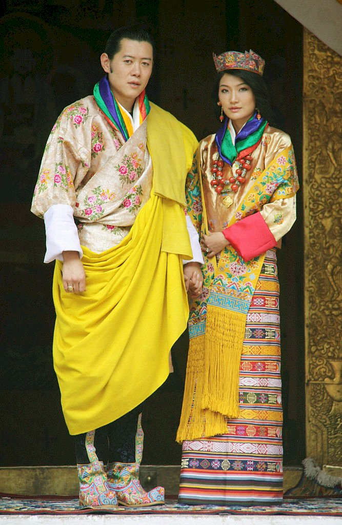 PUNAKAH, Bhutan - Photo shows Jigme Khesar Namgyel Wangchuck (L), the 31-year-old king of Bhutan, and his commoner bride Jetsun Pema, 21, who held their wedding ceremony in Punakha, western Bhutan, on Oct. 13, 2011. (Photo by Kyodo News Stills via Getty Images)