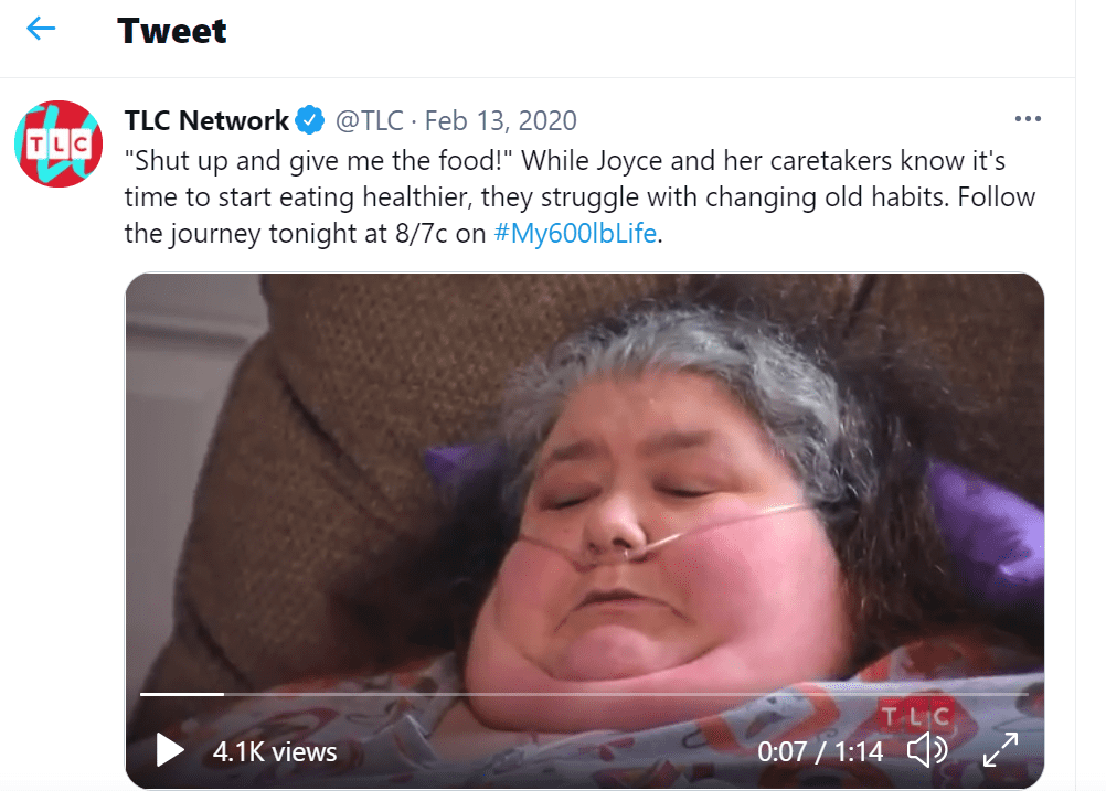 """Pictured - A screengrab from TLC's reality show """"My 600-Lb Life"""" showing Joyce Del Viscovo sitting on the couch with a drip on 