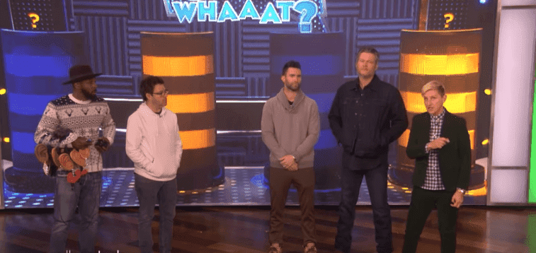 Adam Levine, Blake Shelton,Average Andy and tWitch Play 'Say Whaaat?' on The Ellen DeGeneres Show on January 21 | Image: YouTube/TheEllenShow