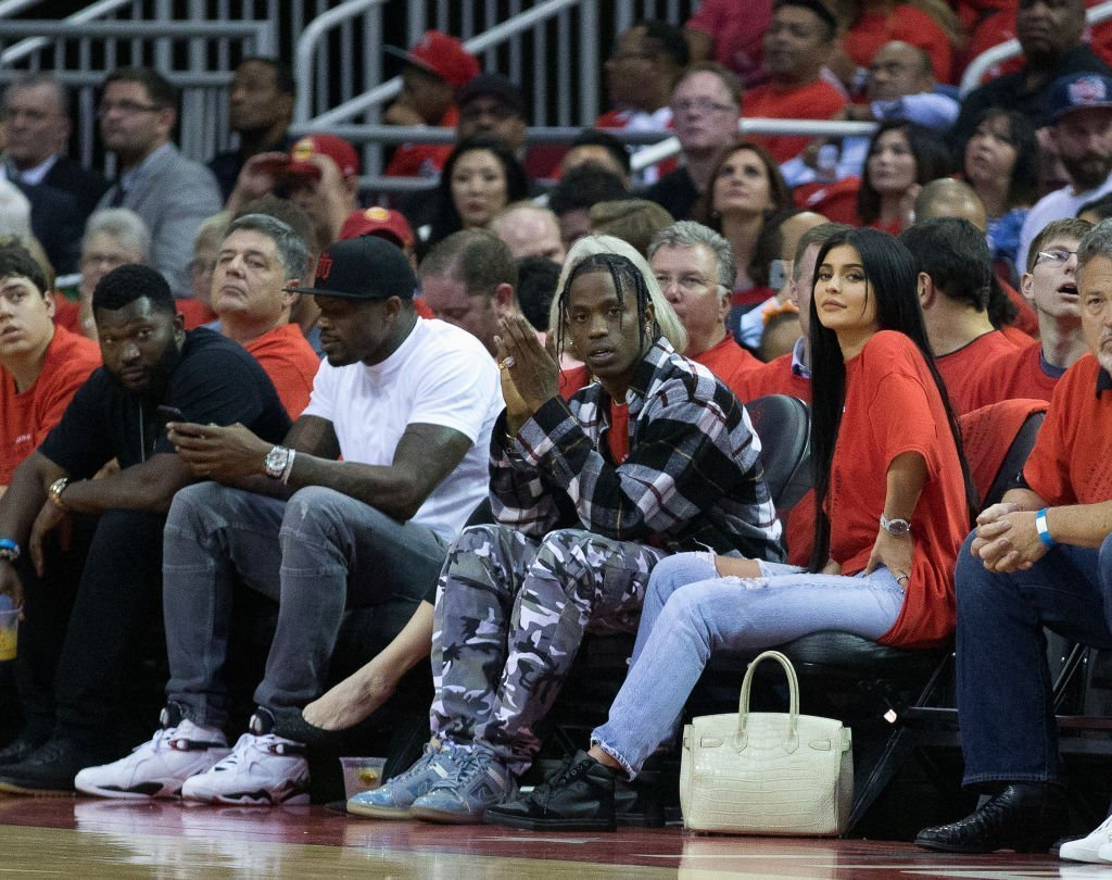 Travis Scott and Kylie Jenner courtside during Game Five of the Western Conference Quarterfinals game of the 2017 NBA Playoffs. | Source: Getty Images
