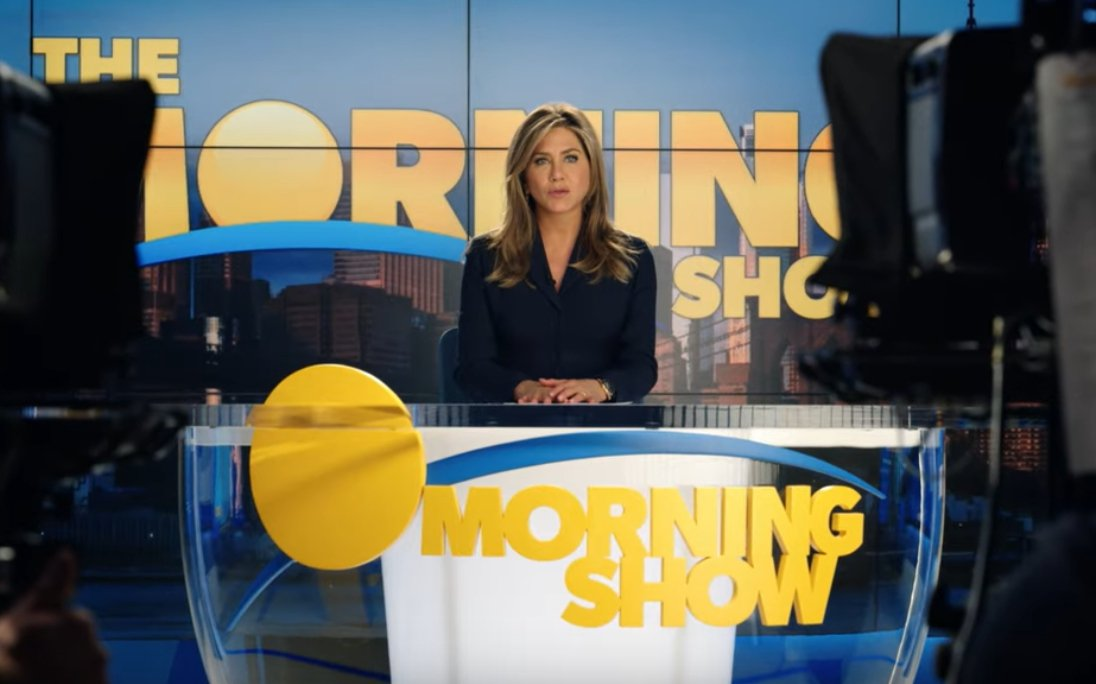 "Jennifer Aniston on set in trailer of Apple TV's ""Morning Show"" 