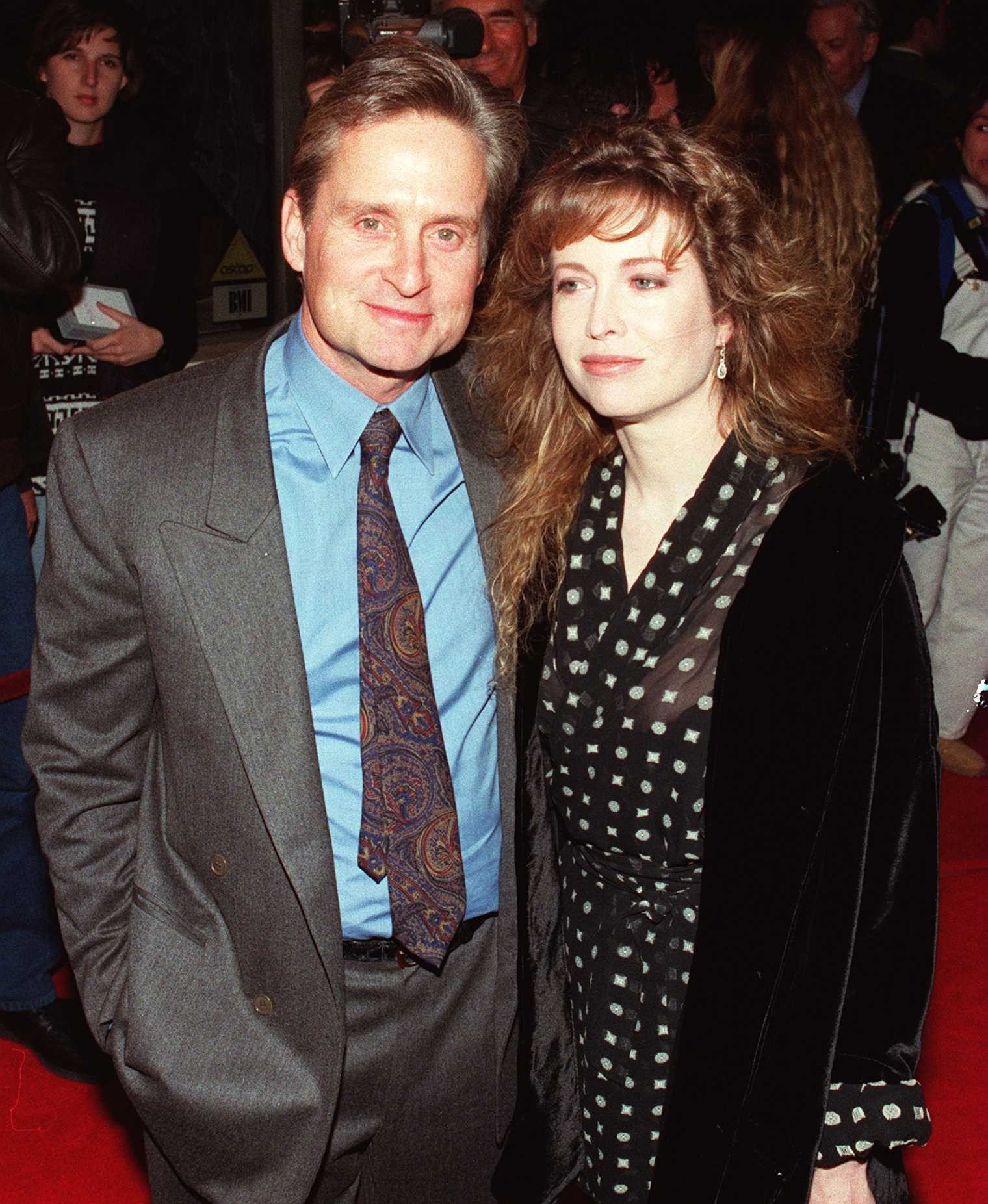 "Michael Douglas and wife Diandra at the premiere of his film ""Disclosure"" in 1994 