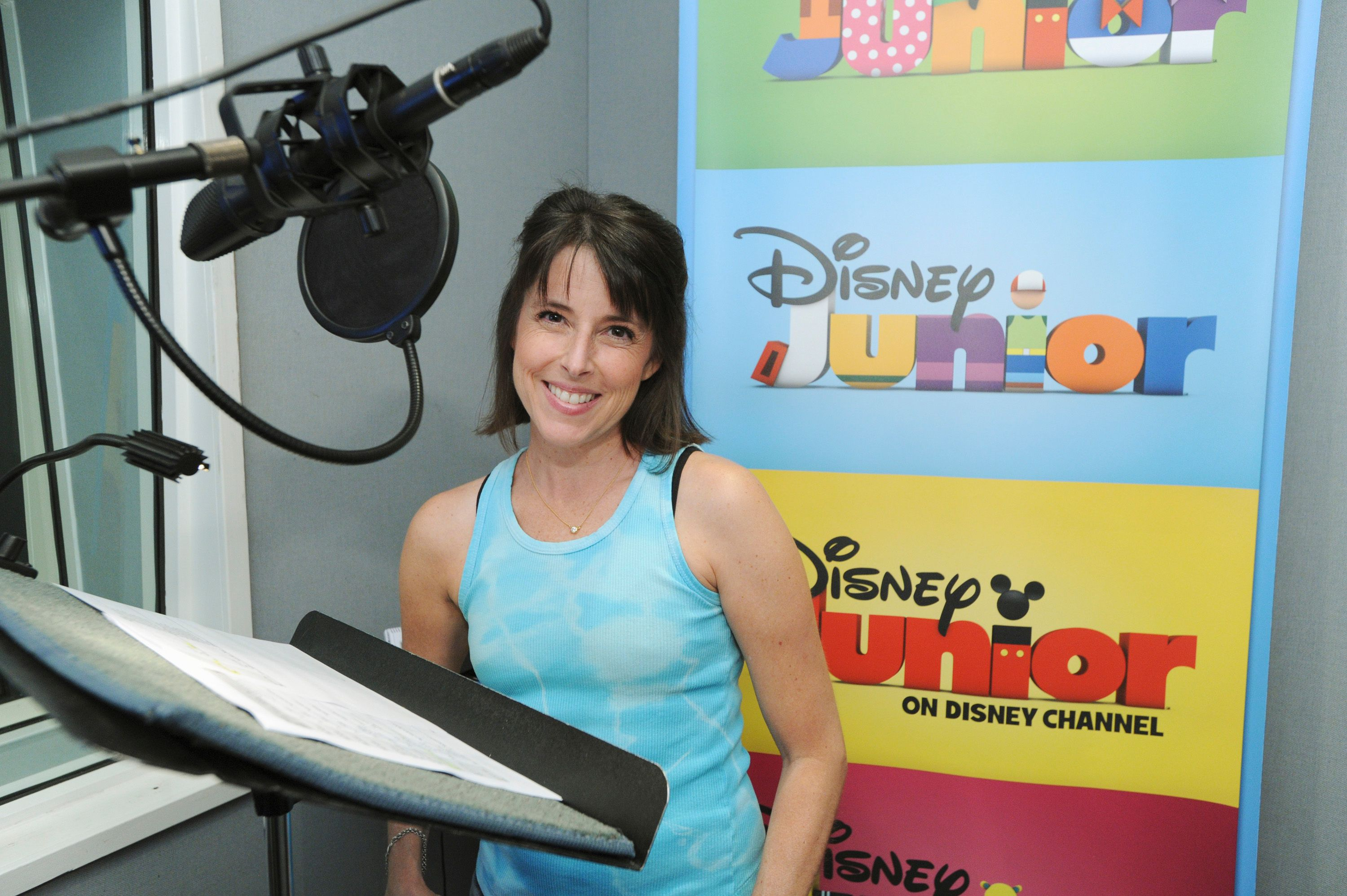 "Lara Jill Miller recording the role of Lambie in Disney Junior's ""Doc McStuffins""  
