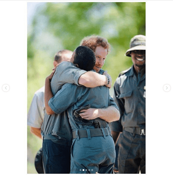 Prince Harry hugs a friend and collaborator in Botswana. I Image: Instagram/ sussexroyal.