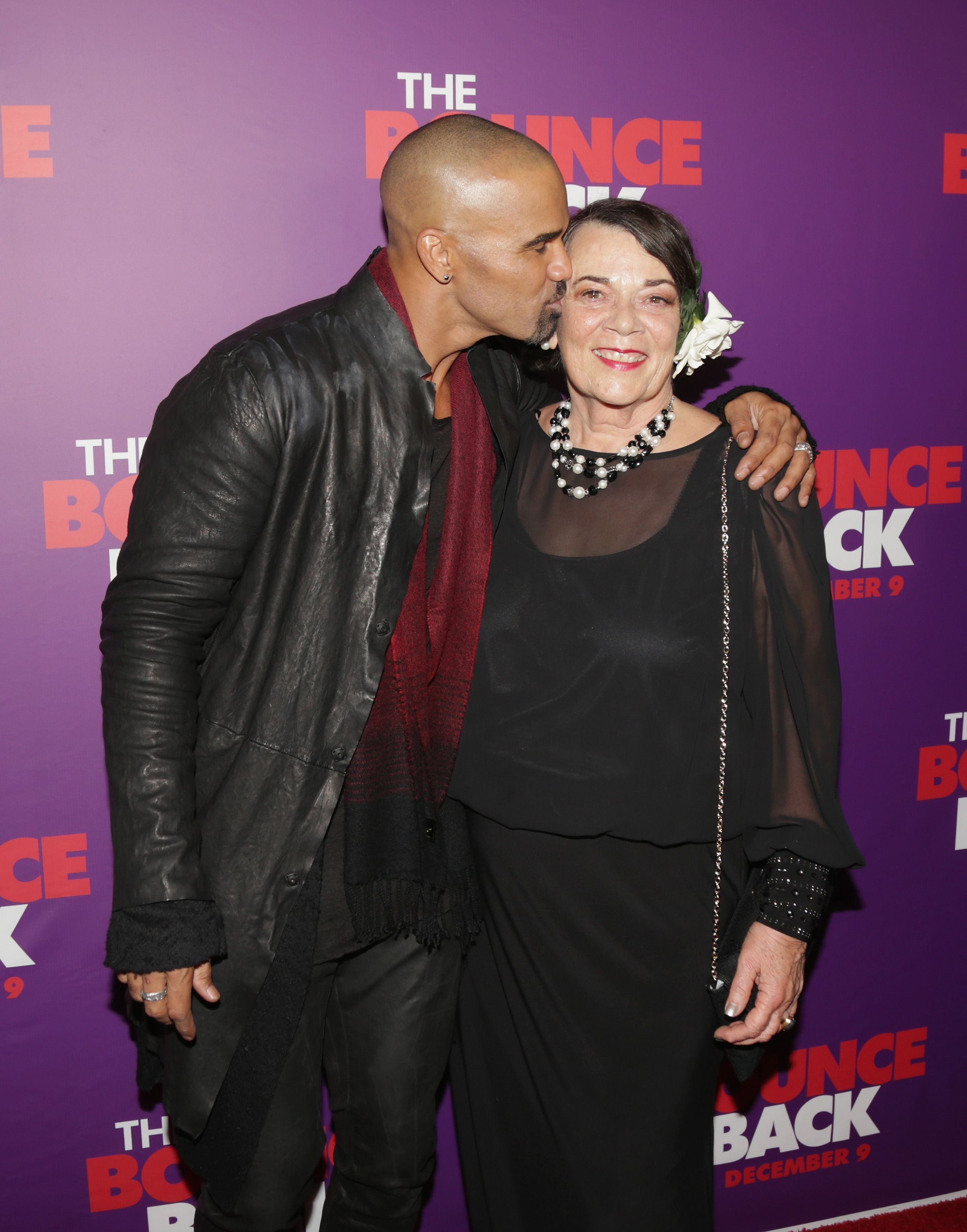 """Shemar Moore and his mother Marilyn Wilson at the premiere of """"The Bounce Back""""in 2016 in Los Angeles 