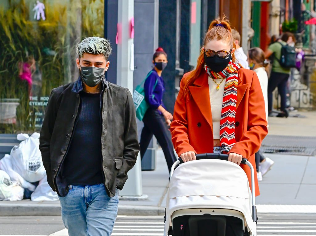 Zayn Malik and Gigi Hadid take baby Khai on a walk to lunch at The Smil, March 2021   Source: Getty Images