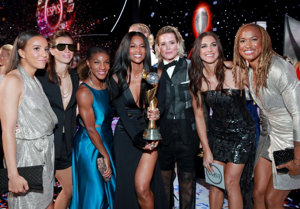 Ciara poses with the Best Team award for The United States Women's National Soccer Team onstage during The 2019 ESPYs at Microsoft Theater | Getty Images