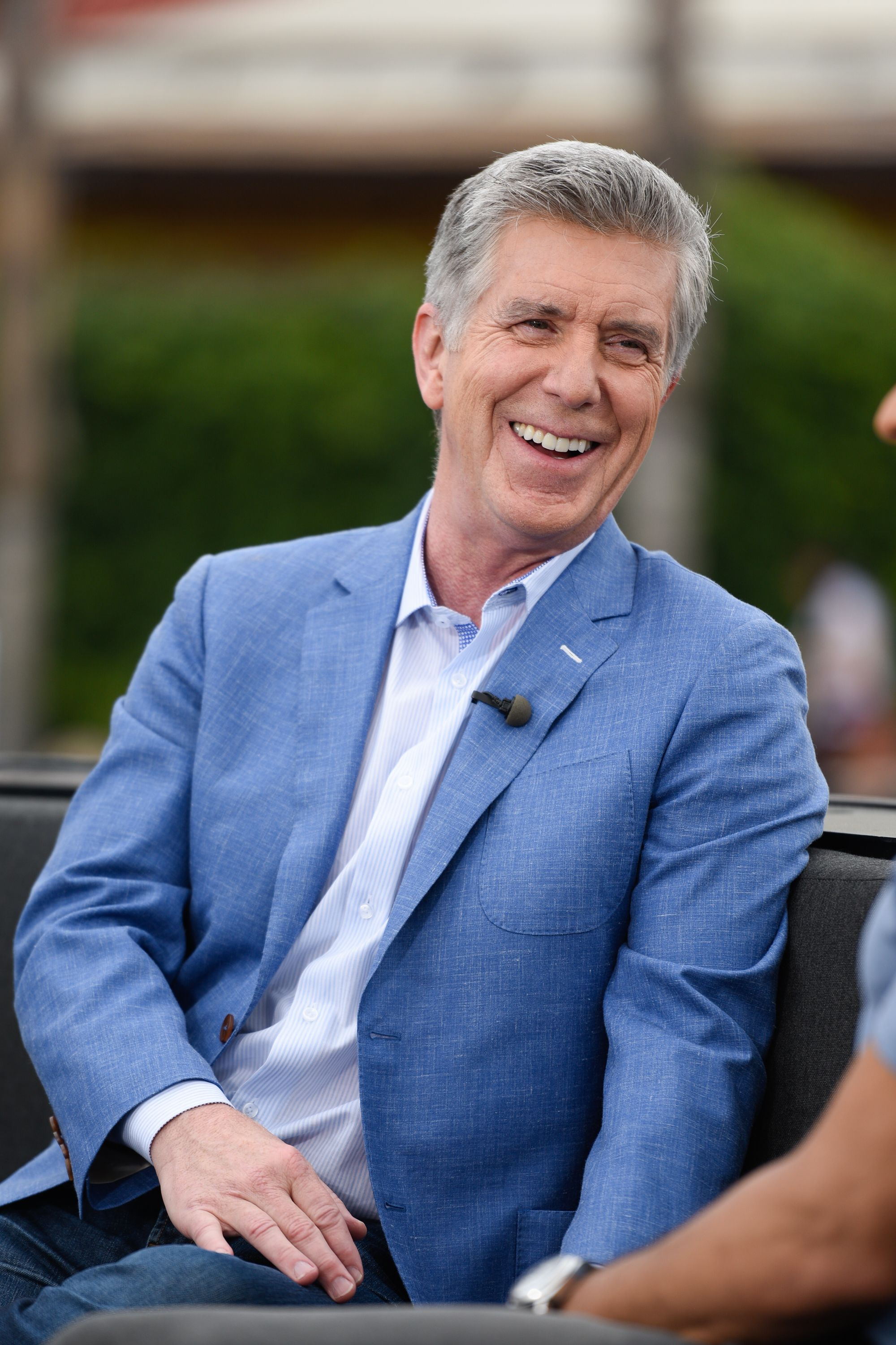 "Tom Bergeron visits ""Extra"" at Universal Studios Hollywood on May 11, 2016, in Universal City, California 