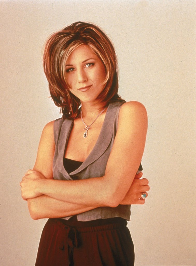"A promotional portrait of American actor Jennifer Aniston for the television series, ""Friends."" 