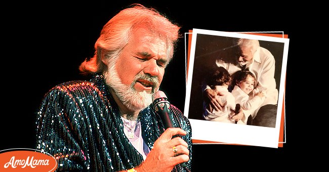 Photo of Kenny Rogers with another photo with his twins | Photo: Getty Images, instagram.com/wandamillerrogers