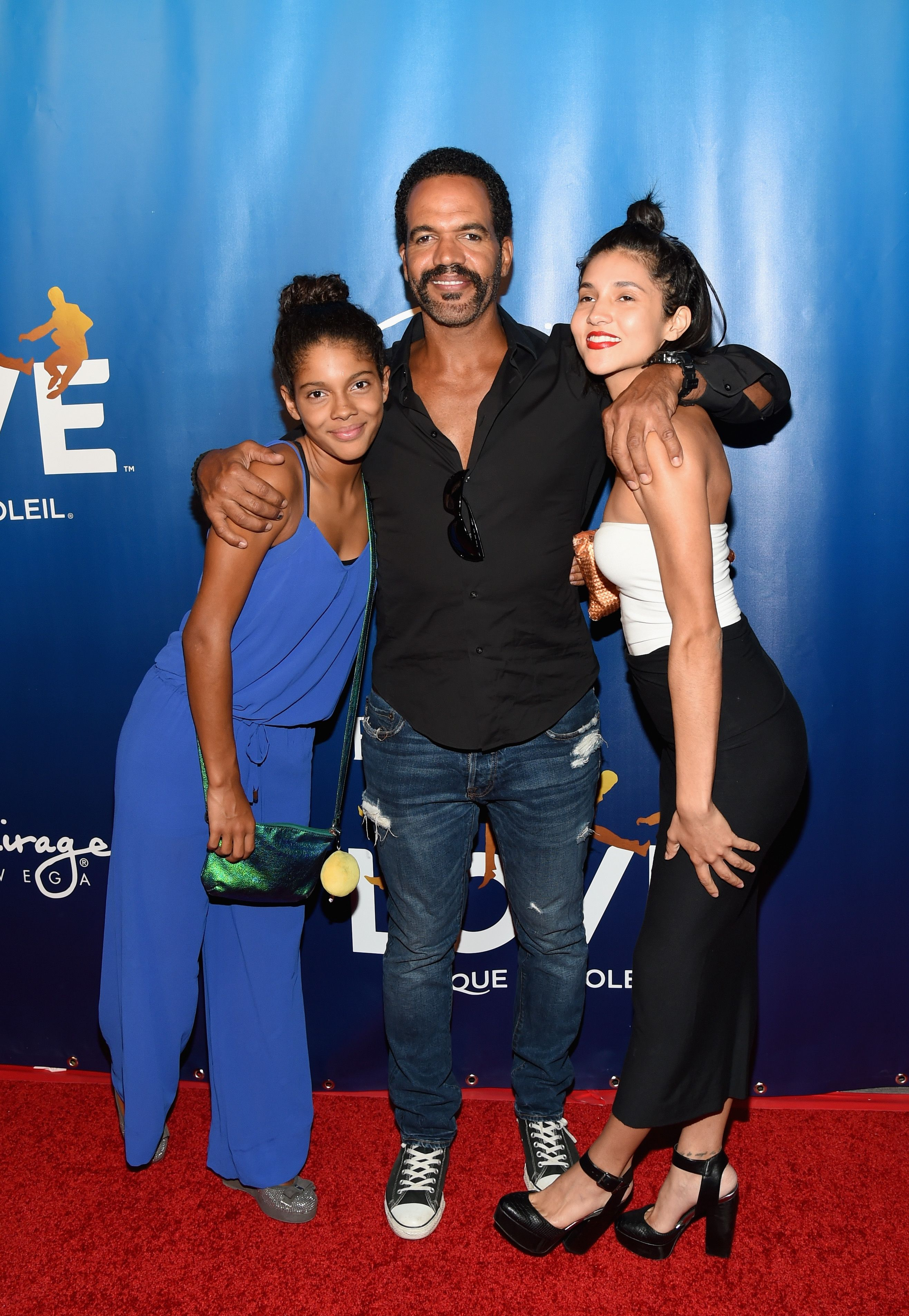 """Lola, Kristoff, and Paris St. John at the 10th-anniversary celebration of """"The Beatles LOVE by Cirque du Soleil"""" on July 14, 2016, in Las Vegas, Nevada 
