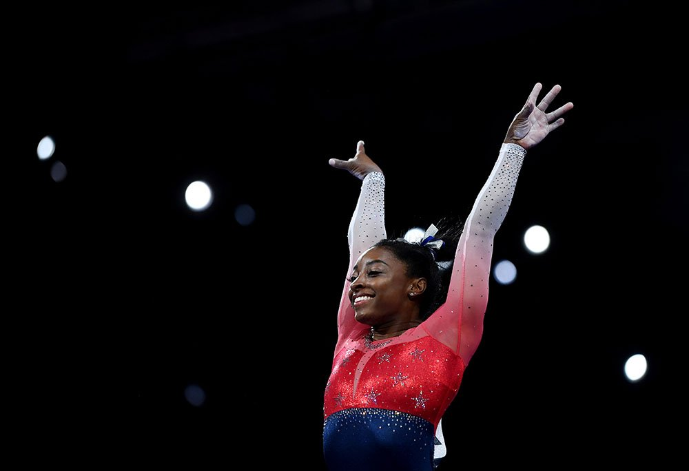 Simone Biles of the USA performs on the vault during the Women's Team Finals on Day 5 of FIG Artistic Gymnastics World Championships on October 08, 2019 in Stuttgart, Germany. I Image: Getty Images.