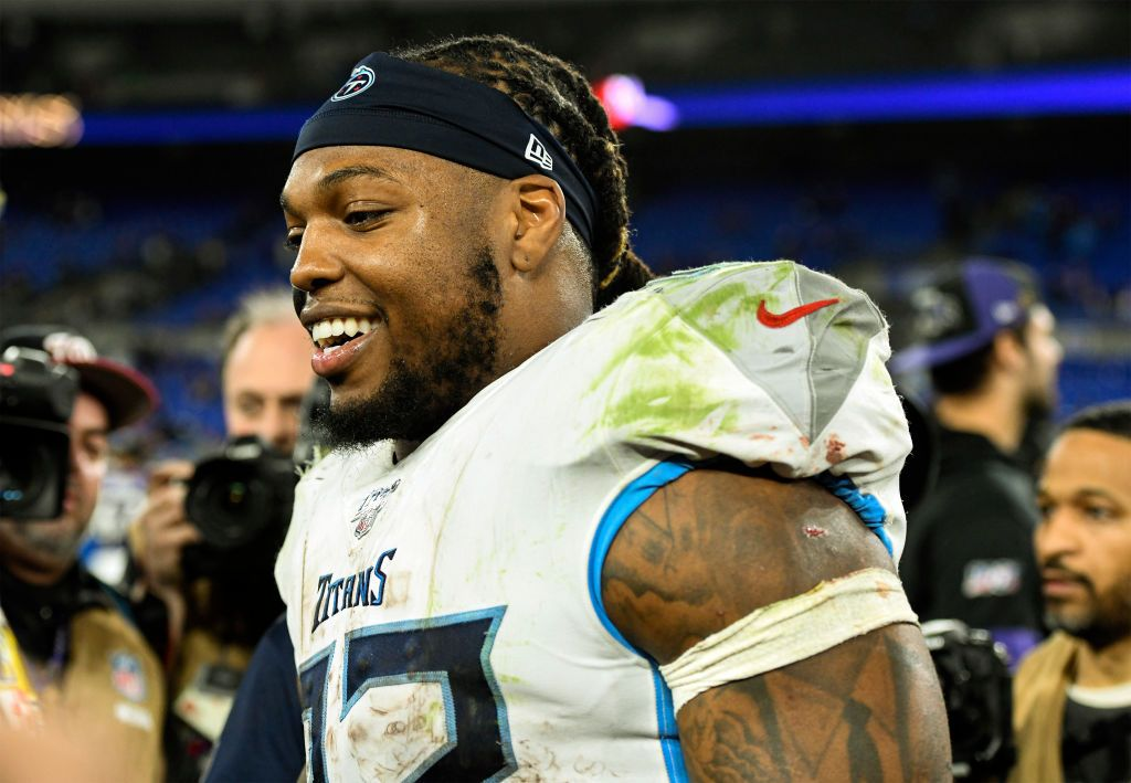 Tennessee Titans running back Derrick Henry at M&T Bank Stadium in Baltimore in January 2020   Source: Getty Images