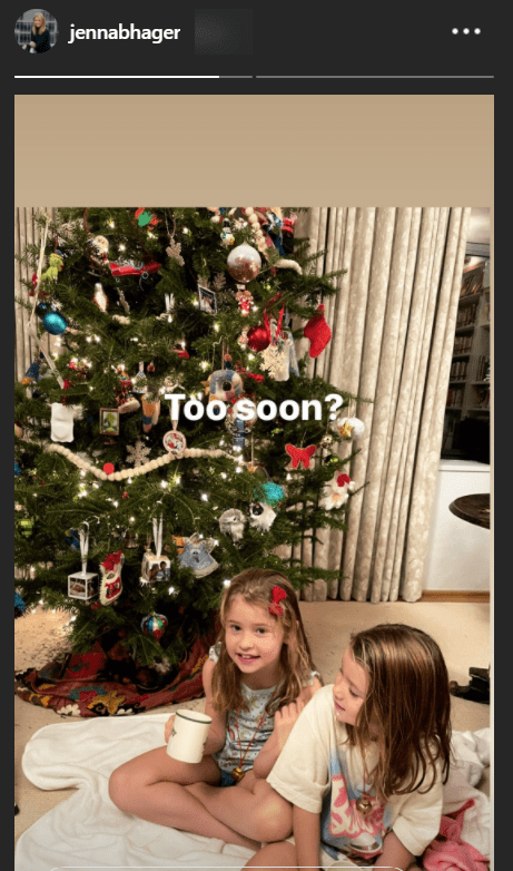 Jenna Hager's duaghters, Mila and Poppy, seated on the floor and in front of a decorated Christmas tree on Hager's Instagram story | Photo: Instagram / jennabhager
