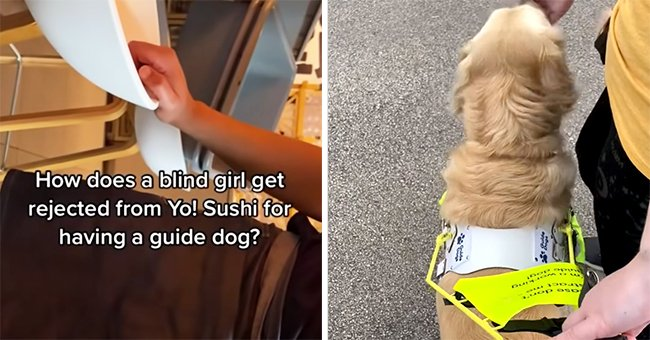 A blind woman records a restaurant worker as he tries to bar her guide dog from the premises   Photo: Youtube/Lucy Edwards