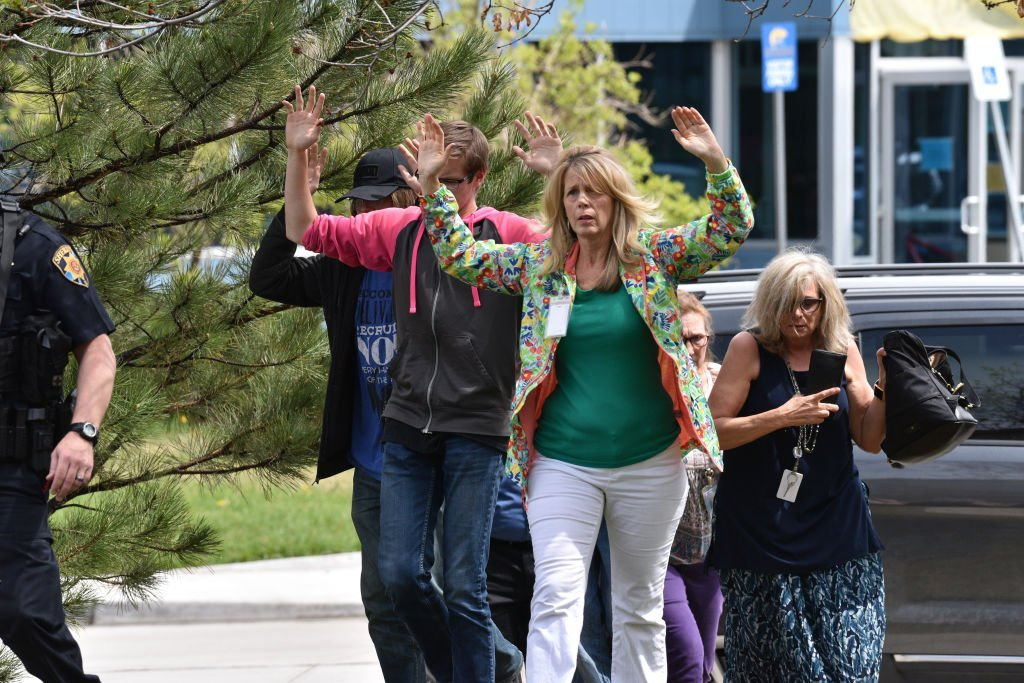 Students and teachers exiting a building at the STEM School Highlands Ranch on May 7, 2019. Photo: Getty Images