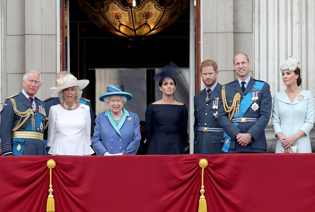 The senior members of the royal family headed by Queen Elizabeth at the event marking the centenary of the RAF in July 2018. | Photo: Getty Images