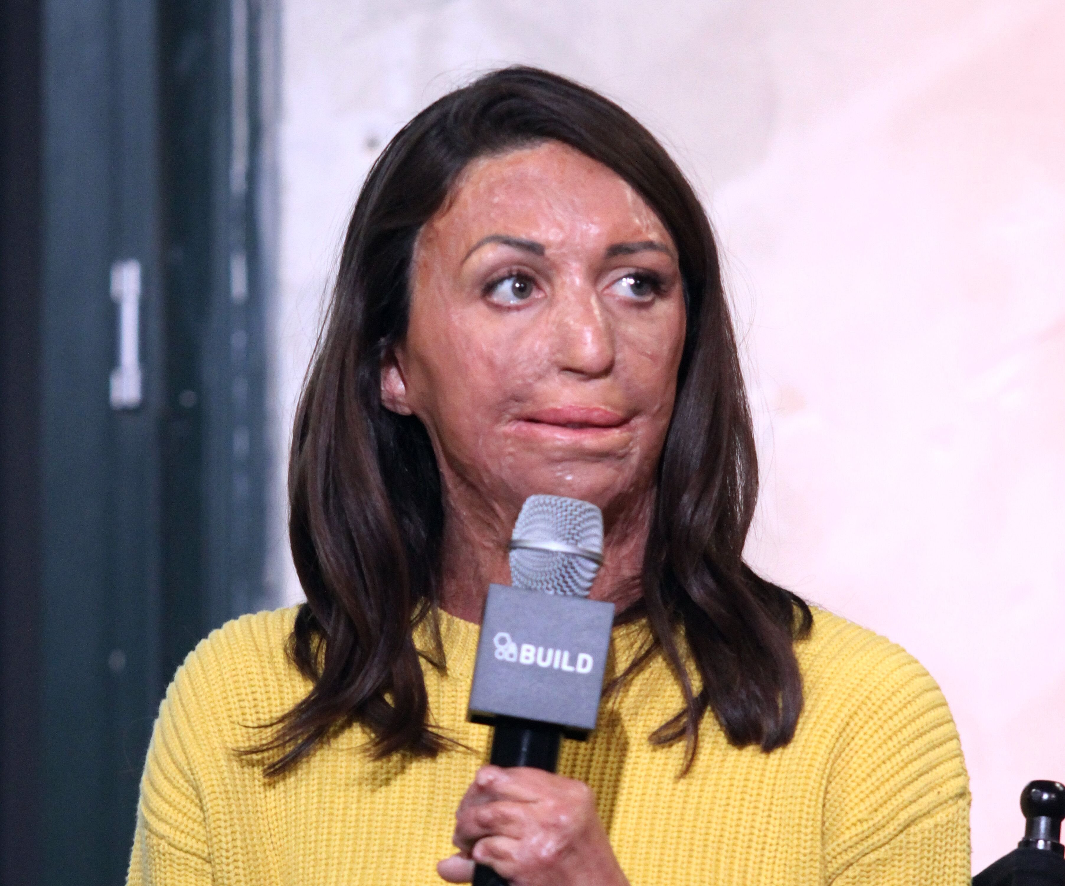 """Turia Pitt appears to promote the """"Ironman World Championship"""" during the AOL BUILD Series at AOL HQ on December 6, 2016 in New York City. 