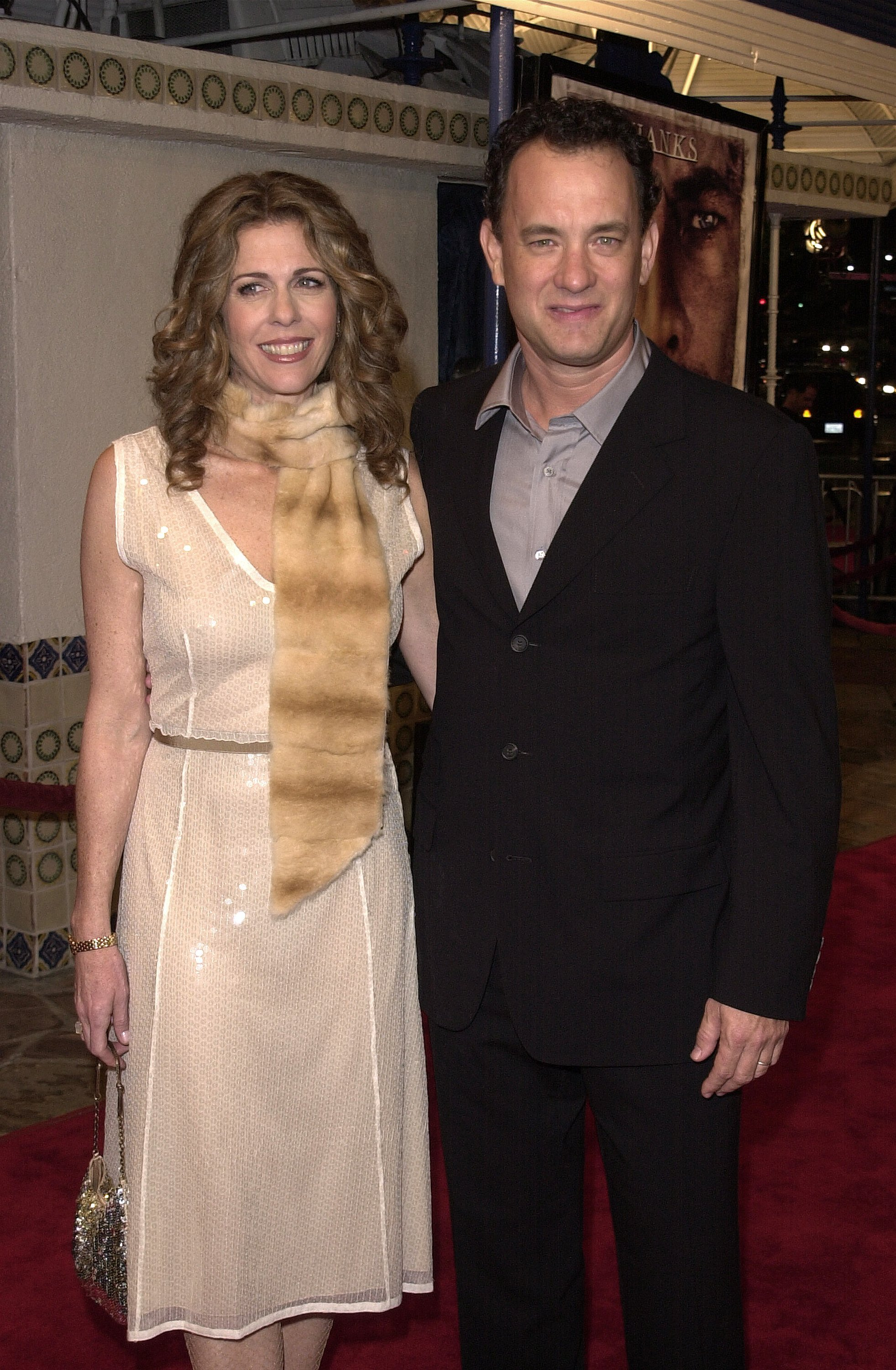 """Tom Hanks and Rita Wilson attend the premiere of his film """"Cast Away"""" December 7, 2000, in Los Angeles, CA. 