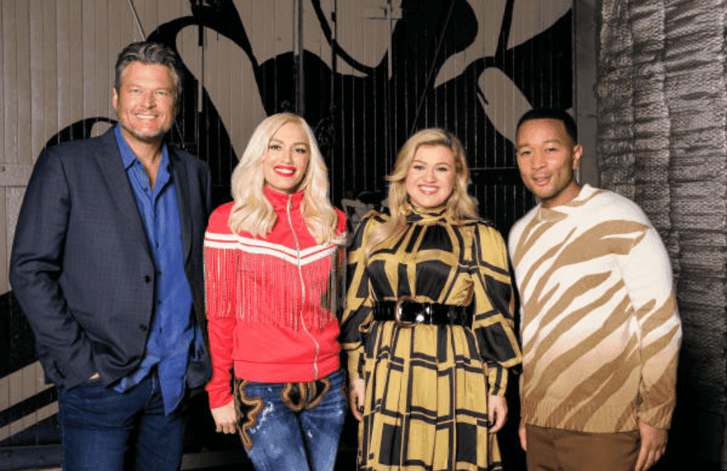 "During the ""The Voice"" press junket, Blake Shelton, Gwen Stefani, Kelly Clarkson and John Legend pose together, on September 16, 2019 