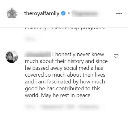 Screenshot of comments on the Royal Family's post about Prince Philip. | Source: Getty Images