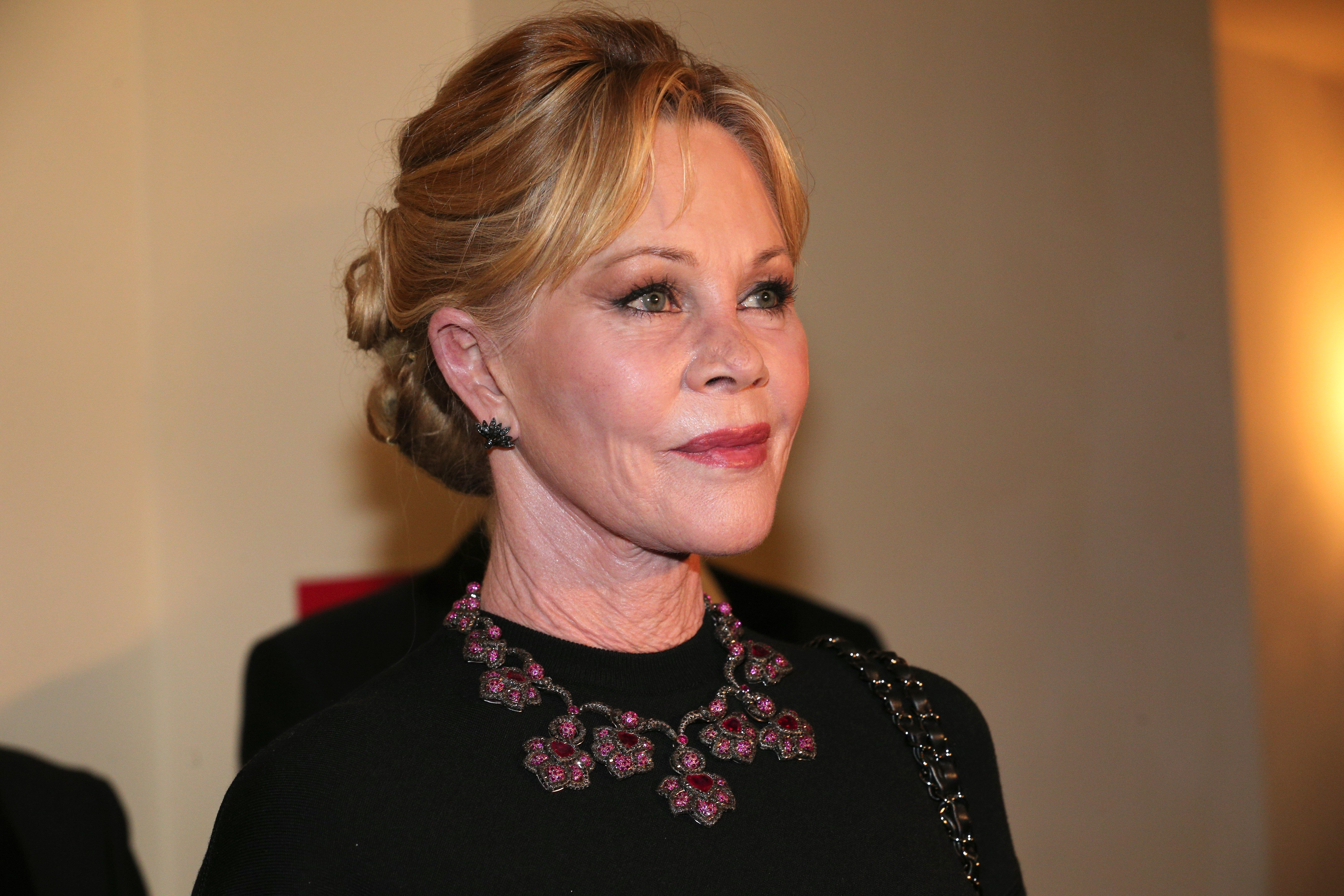 Melanie Griffith during the reception of Opera Ball Vienna ( Wiener Opernball ) at Grand Hotel on February 8, 2018 in Vienna, Austria. | Source: Getty Images