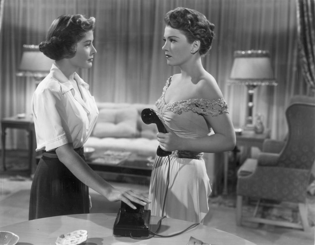 Anne Baxter as Eve Harrington has her telephone call abruptly cut off by Barbara Bates in a scene from the film 'All About Eve'   Photo: Getty Images