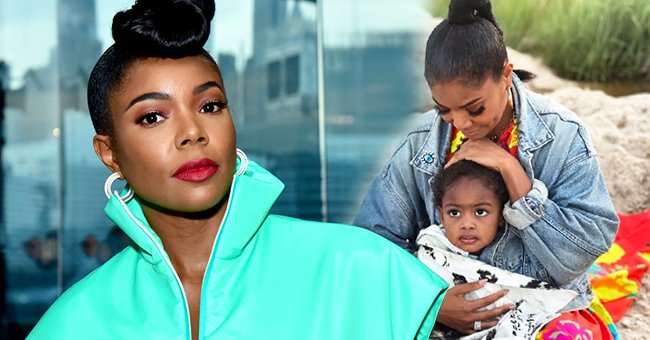 Actress Gabrielle Union-Wade at the Prada Resort 2019 fashion show on May 4, 2018 in New York City (left) and with her daughter Kaavia (right).   Photo: Getty Images and Instagram/@gabunion