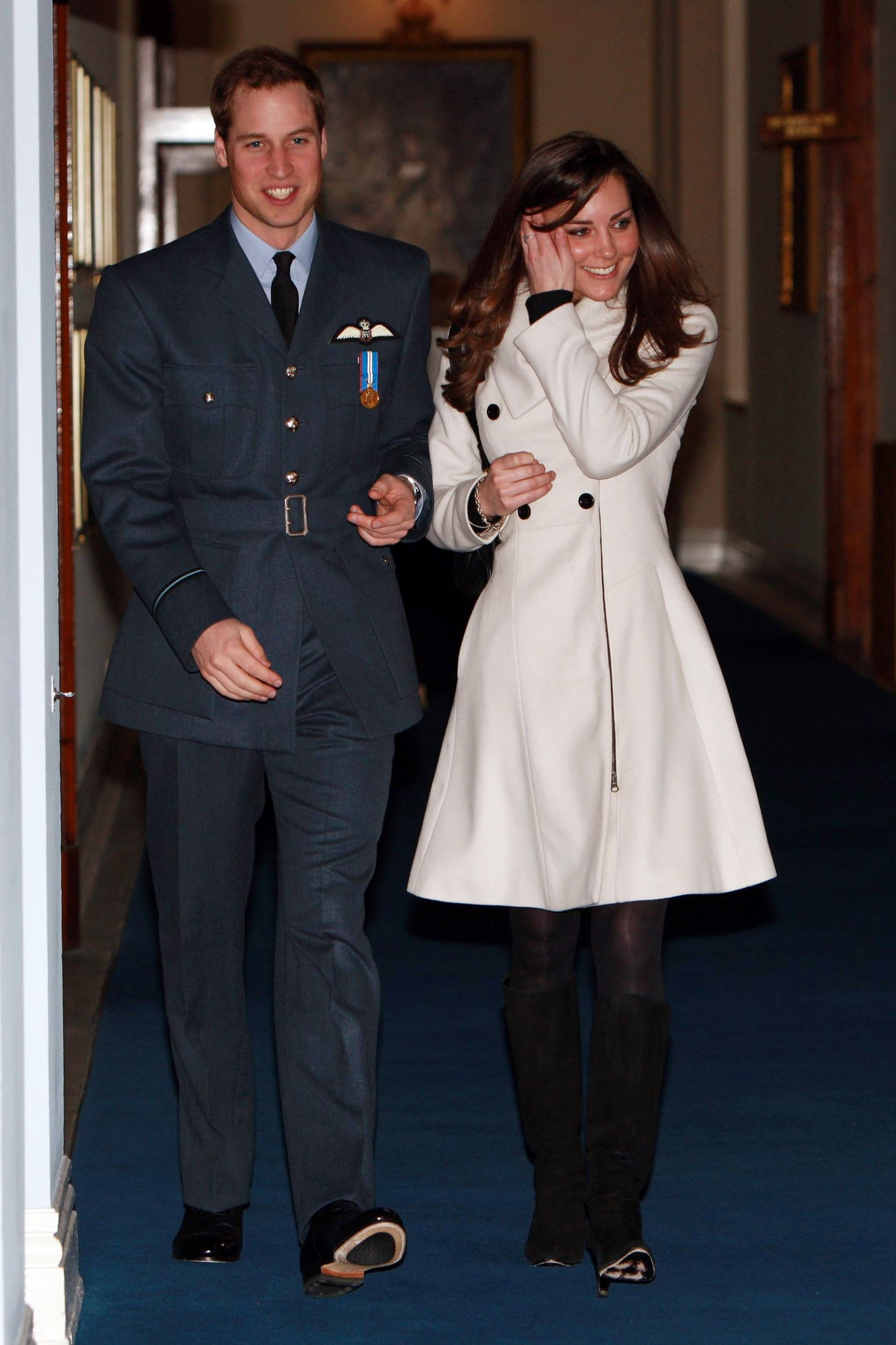 Prince William with his girlfriend Kate Middleton after his graduation ceremony at RAF Cranwell on April 11, 2008, in Cranwell, England | Photo: Pool/Anwar Hussein Collection/WireImage/Getty Images