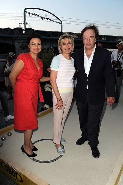 "Anais Baydemir, Evelyne Dheliat et Daniel Lauclair assistent à la ""Pétanque Gastronomique"" organisée par Daniel Lauclair au Yacht Marina de Paris le 27 juin 2019 à Paris, France.  
