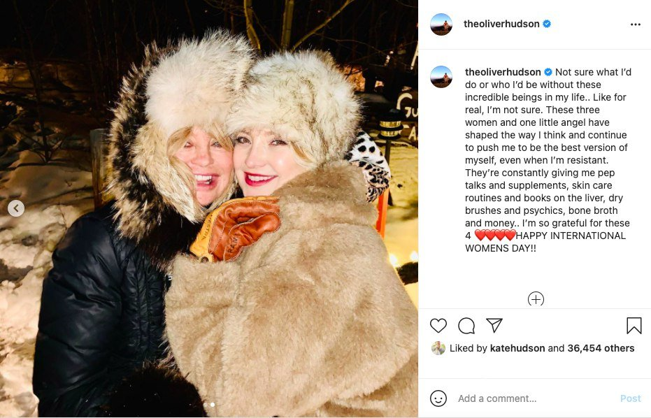 Goldie Hawn and Kate Hudson as pictured on Oliver Hudson's Instagram on March 9, 2021.  | Image: Getty Images.