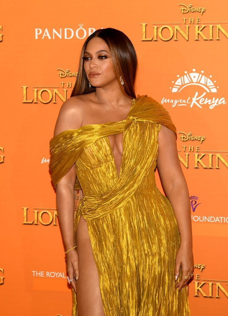 "Beyonce Knowles-Carter attends the European Premiere of Disney's ""The Lion King"" at Odeon Luxe Leicester Square 