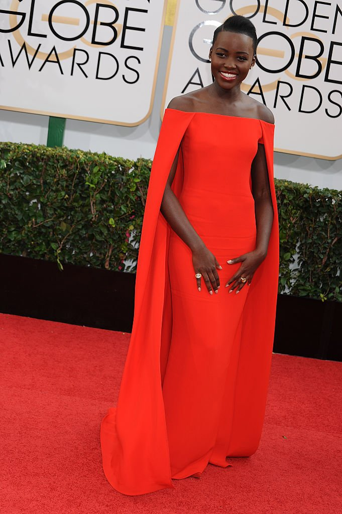 Lupita Nyong'o arrives at the 71st Annual Golden Globe Awards held at The Beverly Hilton Hotel | Photo: Getty Images