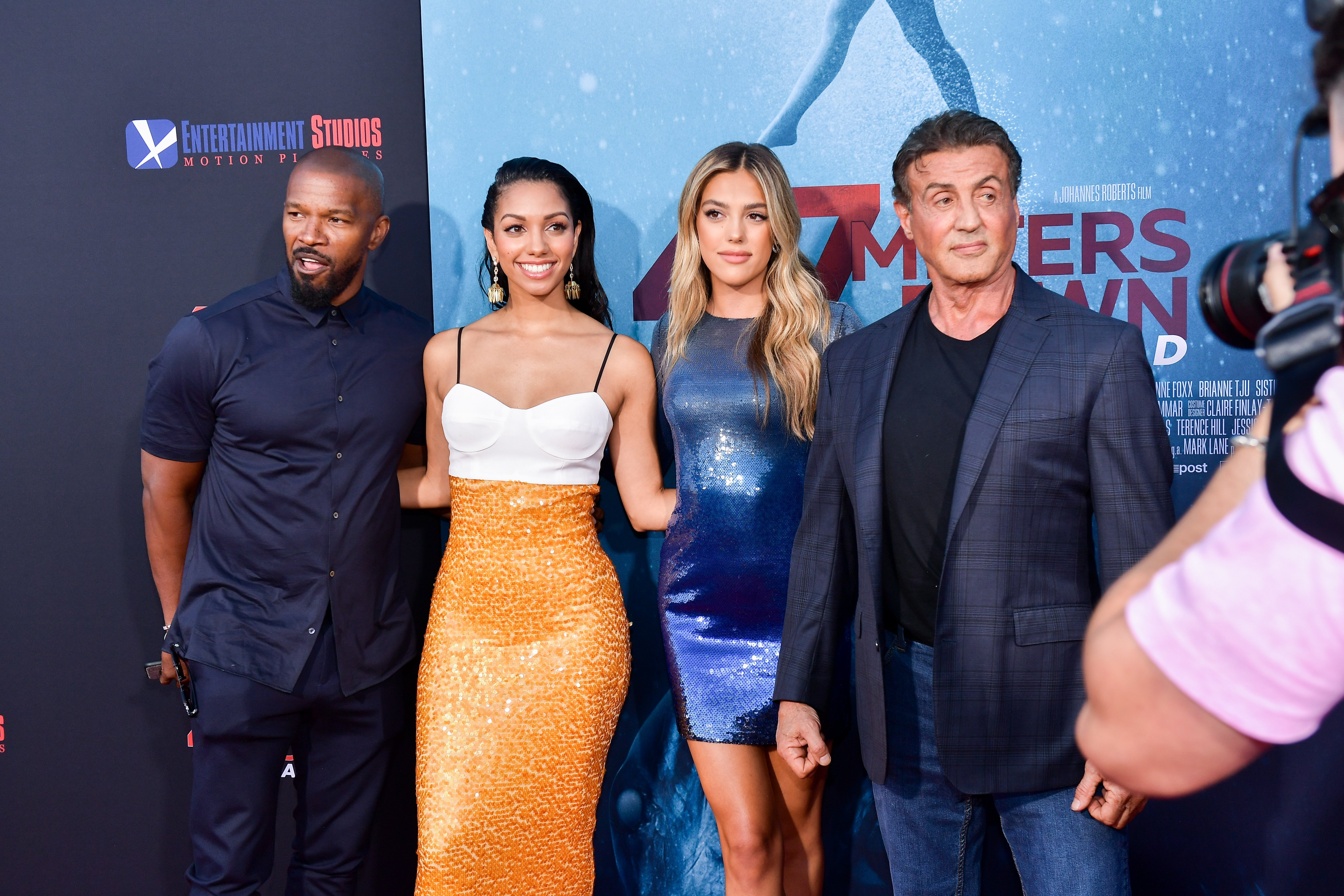 Jamie and Corinne Foxx and Sistine and Sylvester Stallone at the world premire of '47 Meters Down: Uncaged' in Los Angeles on August 13, 2019   Photo: Getty Images
