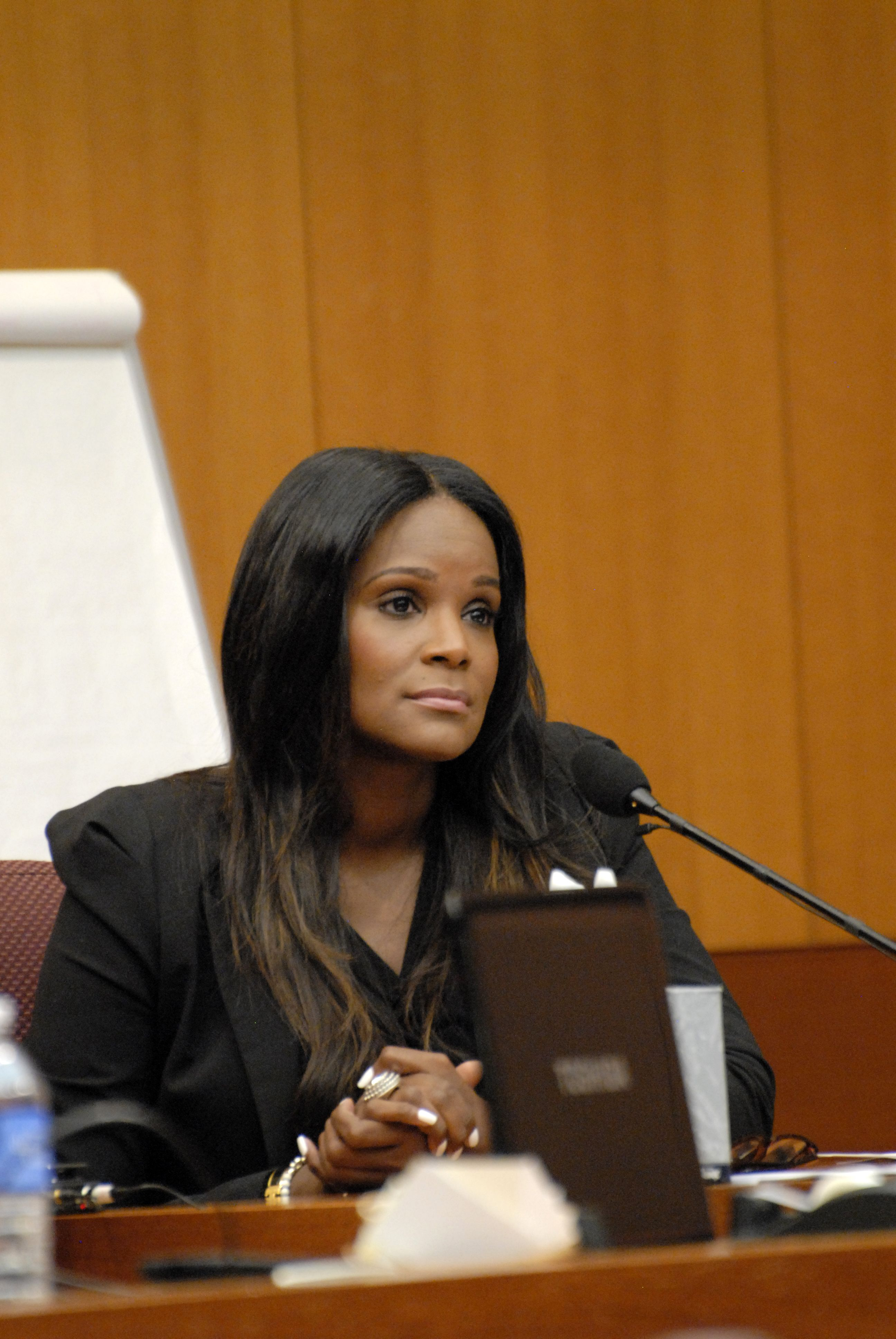 Tameka Foster at the court hearing to discuss child custody at Fulton County State Court on August 14, 2012 in Atlanta, Georgia. | Source: Getty Images