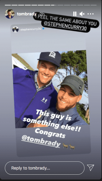 Packers fan, Steph Curry, could not deny Tom Brady's greatness, January, 2021. | Photo: Instagram/tombrady.