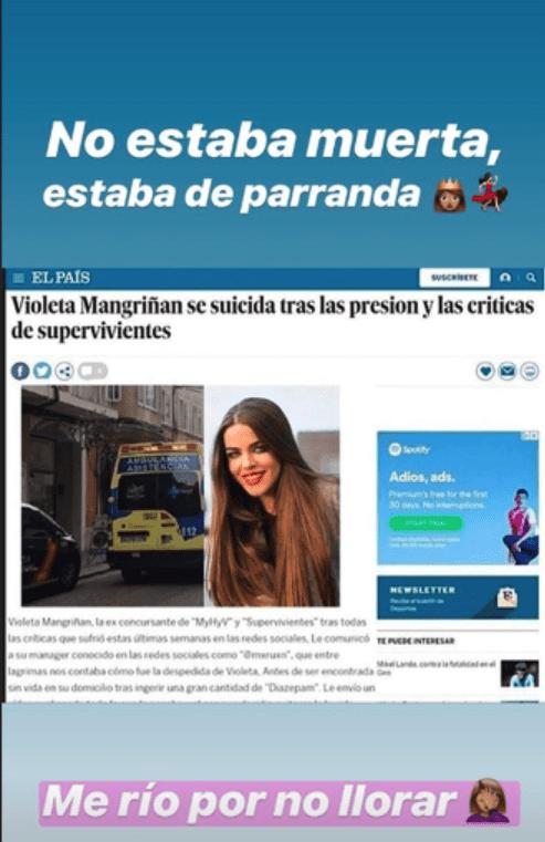 Captura de pantalla de las historias de Instagram de Violeta Mangriñán || Fuente: Instagram/violeta_mangrinyan/