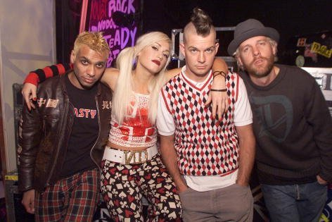 """No Doubt, Tony Kanal, Gwen Stefani, Adrian Young and Tom Dumont, backstage at the Wadsworth Theater before a taping of ABC Family's """"Front Row Center"""" in Los Angeles, Ca. Sunday, November 11, 2001. 