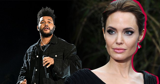 """Angelina Jolieat a """"Maleficent"""" exhibited in support of Great Ormond Street Hospital on May 8, 2014, in London, England, andThe Weeknd at the Global Citizen Concert at Central Park, Great Lawn on September 29, 2018, in New York City 