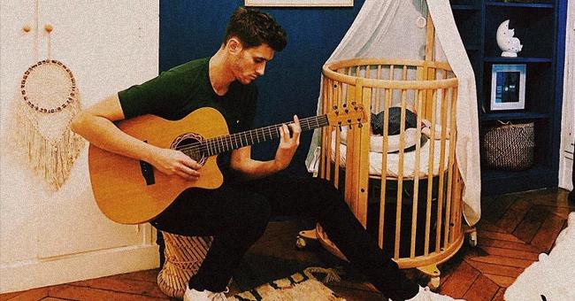 Jean-Baptiste Maunier habitue son nouveau-né à la musique dans une nouvelle photo